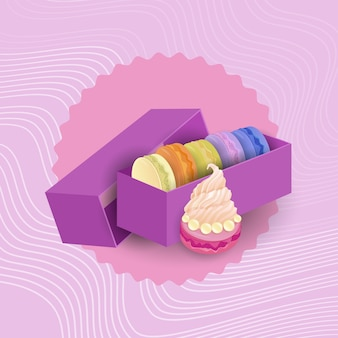Macarrones coloridos set postre dulce hermosa comida deliciosa
