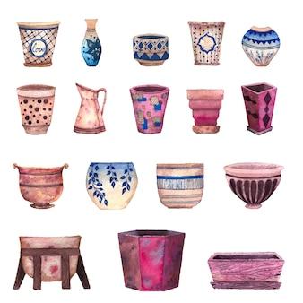 Macetas de cerámica para plantas de interior.