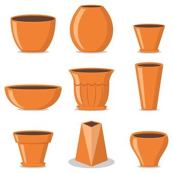 Macetas de diferentes tipos. vector conjunto de plano aislado