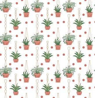 Macetas de macramé de flores en macetas de patrones sin fisuras, estilo escandinavo moderno, textura infinita de plantas colgantes.
