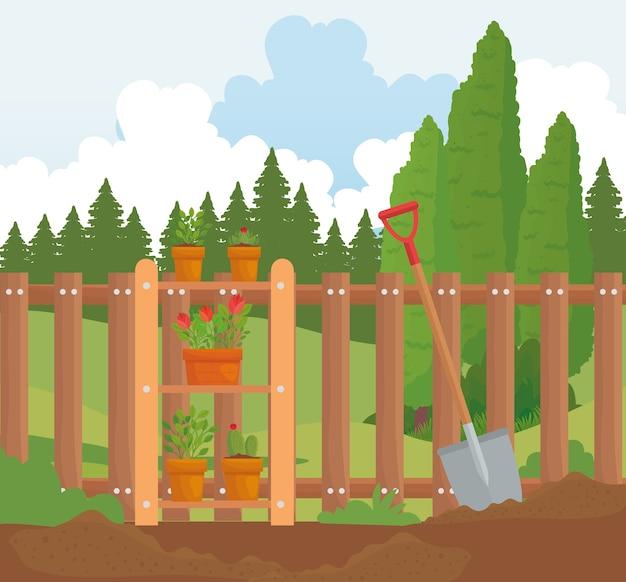 Macetas de plantas de jardinería y diseño de pala en la tierra, plantación de jardines y naturaleza