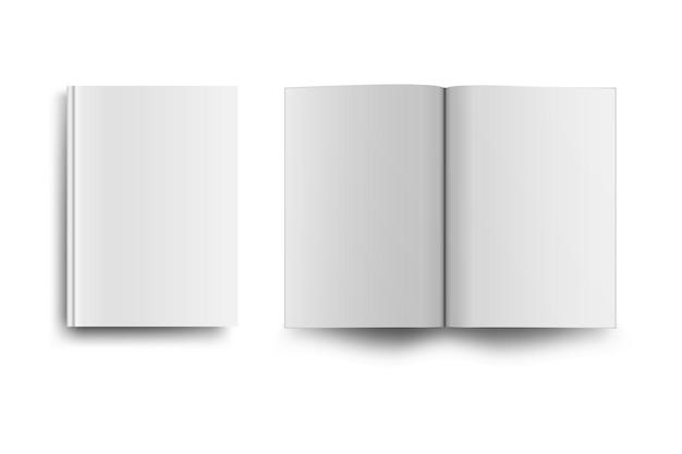 Mack de libro o revista vacío aislado en blanco