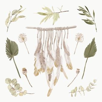 Macrame de plumas de boho con flores y hojas tropicales