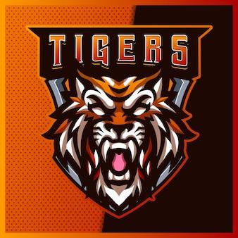 Mad tigers esport y diseño de logotipo de mascota deportiva con ilustración moderna. ilustración de mad tigers