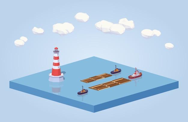 Madera isométrica 3d lowpoly flotando en el remolque en el mar