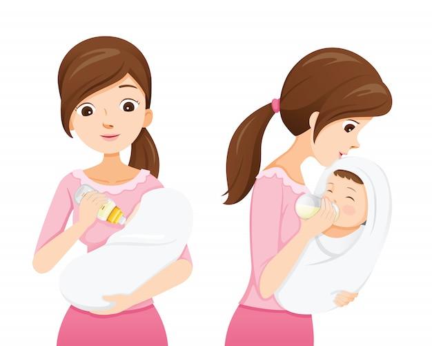 Madre alimentando al bebé con leche en el biberón, vista frontal y lateral