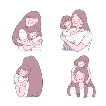 Madre amando a su hijo conjunto de ilustraciones