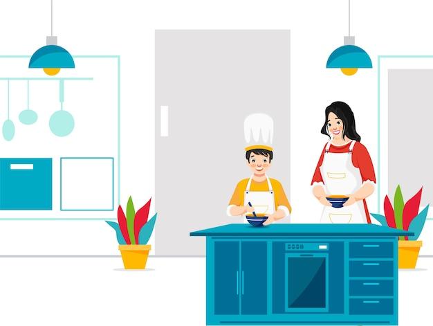 Madre ayuda a su hijo a cocinar en la cocina de casa. puede utilizarse como póster.