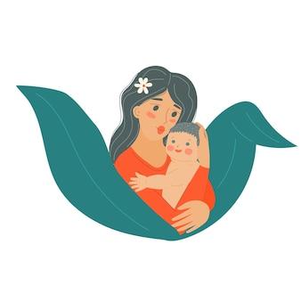 Madre con bebé niño día de la madre mujer con recién nacido el padre sostiene al niño en sus brazos s