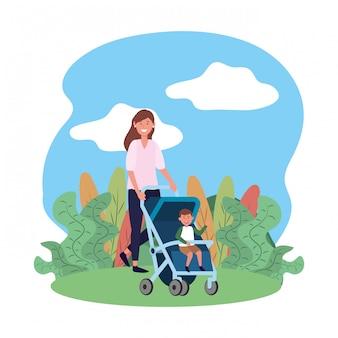 Madre con carro de bebé
