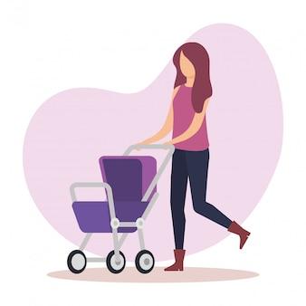 Madre con carro personaje de bebé
