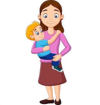 Madre de dibujos animados con un niño en sus brazos