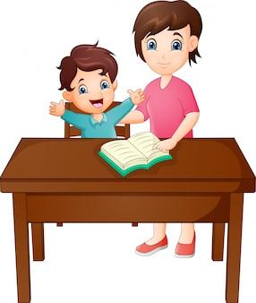 Madre de dibujos animados con su hijo leyendo libro