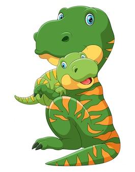 Madre dinosaurio llevando lindo bebé dinosaurio
