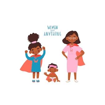 Madre con dos hijas en trajes de superhéroe