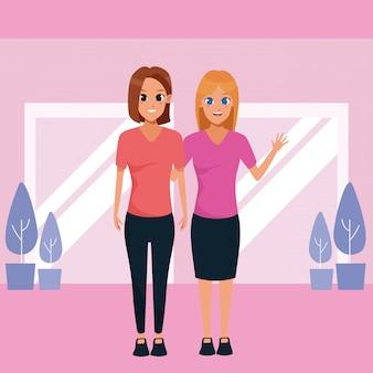 Madre e hija adulta juntas de dibujos animados