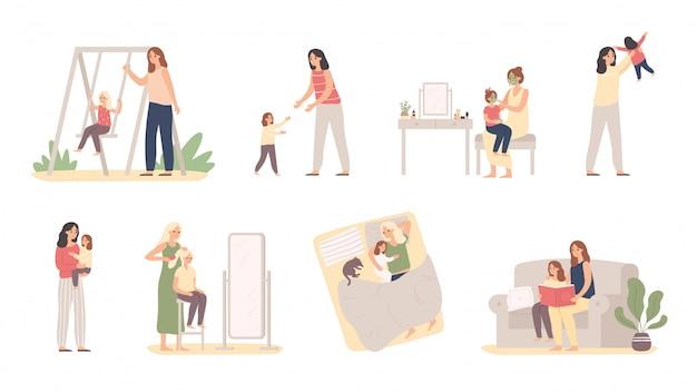 Madre e hija. amor de maternidad, crianza de hijas y niña con ilustración de vector de mamá
