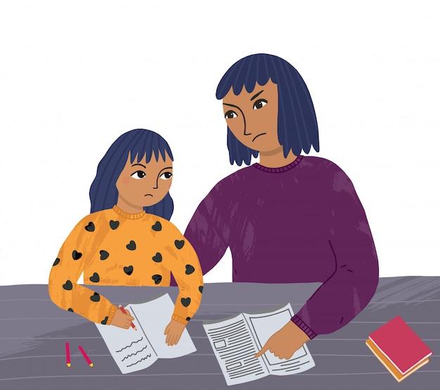 Madre e hija hacen su tarea. problemas de comunicación entre padres e hijos. aprendizaje a distancia en casa.