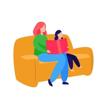 Madre e hija pequeña leyendo cuentos de hadas