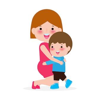 Madre e hijo aislados sobre fondo blanco ilustración feliz día de la madre,