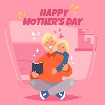 Madre e hijo leyendo en interiores