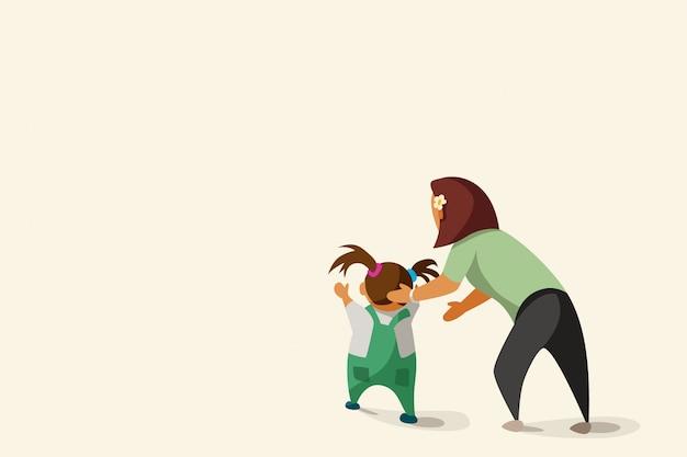 Madre e hijo sobre fondo brillante