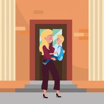 Madre e hijo van a la escuela