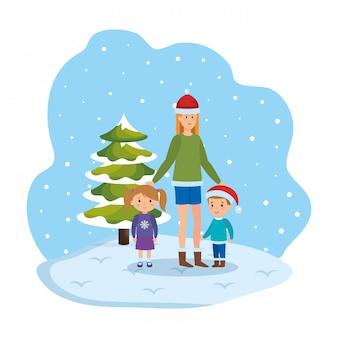 Madre e hijos en el paisaje nevado