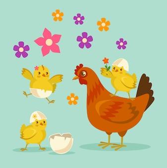 Madre e hijos de pollo de dibujos animados lindo.