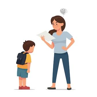 Madre enojada porque su hijo tiene mala nota.