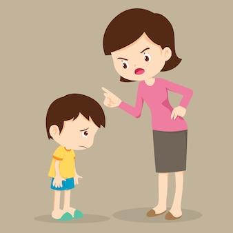 Madre enojada con su hijo y culpa