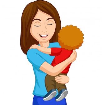 Madre feliz de dibujos animados abrazando a su hijo
