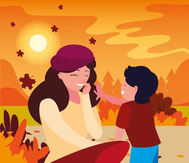 Madre con hijo en otoño