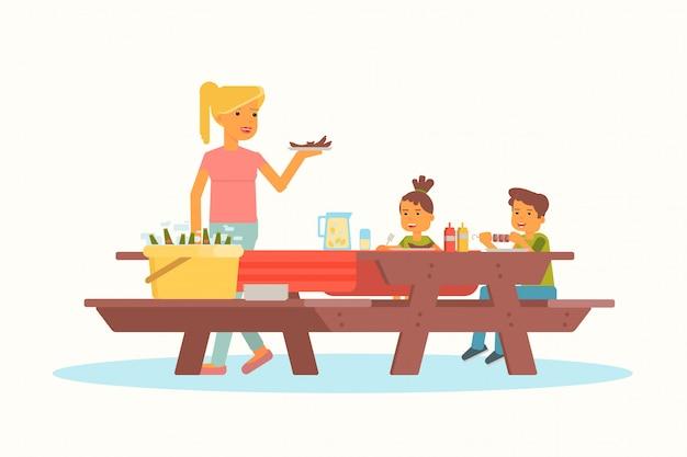 Madre con hijos en la ilustración de picnic
