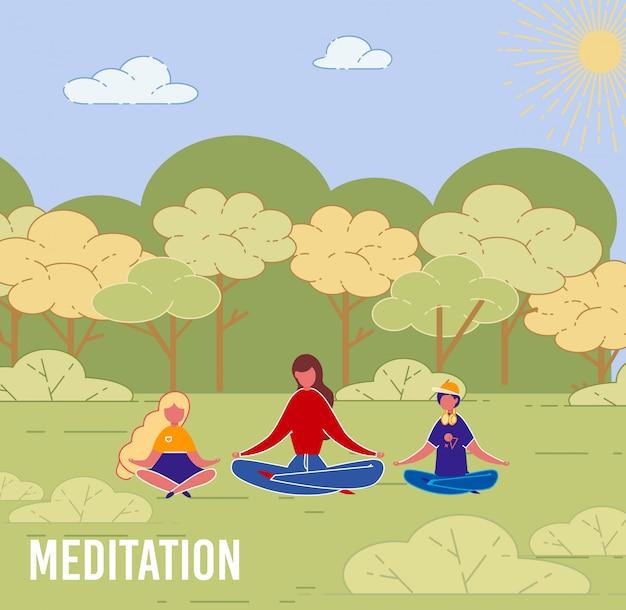 Madre con hijos yoga meditación al aire libre.