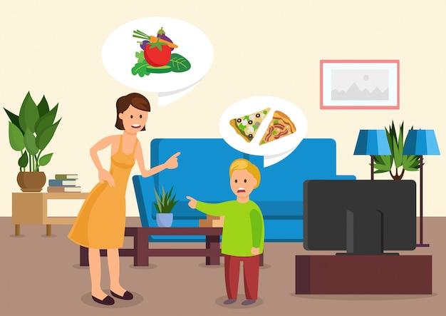 La madre de la historieta le dice a su hijo que coma vegetales.