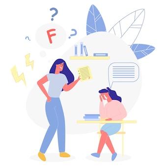 Madre con informe de calificaciones, gritando a su hija en edad escolar