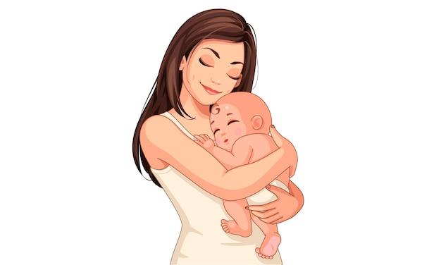 Madre joven feliz con su pequeño bebé lindo