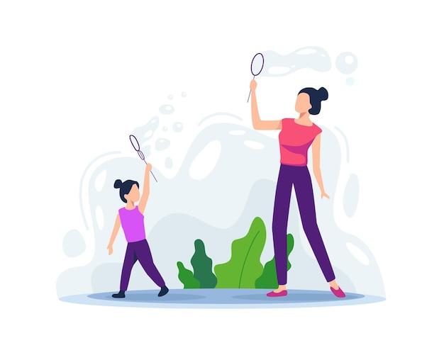 Madre jugando con su hija. soplando burbujas de jabón, padres felices y juego infantil al aire libre. unión de madre e hija. actividad divertida de verano para niños. ilustración de vector de estilo plano