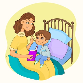 Madre leyendo un libro a su hijo.