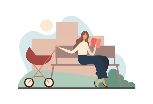 Madre con libro mecedora cochecito. ilustración