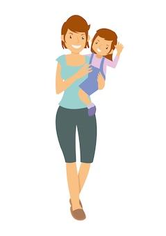 Madre llevando a su hija