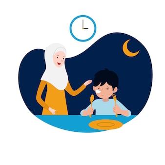 La madre musulmana apoya a su niño soñoliento para el sahur o la comida antes del amanecer antes de comenzar la ilustración vectorial de ayuno. diseño de concepto de la actividad familiar de ramadán.