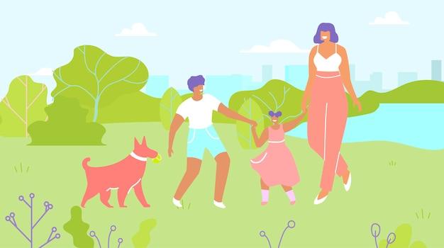 Madre y niños caminando perro en el parque de dibujos animados