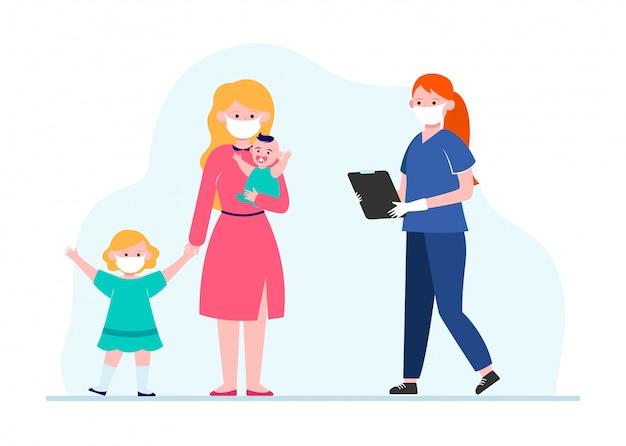 Madre con niños pequeños visitando pediatra