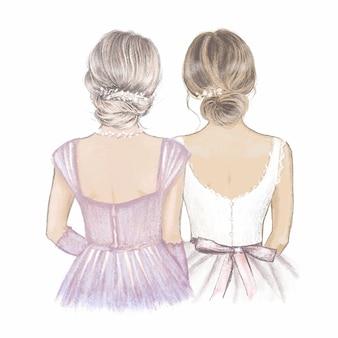 Madre de novia. ilustración dibujada a mano.