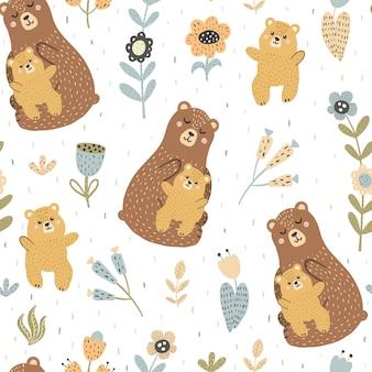 Madre oso con su bebé de patrones sin fisuras