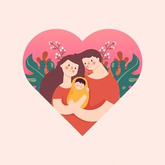 Madre y padre abrazando la emoción de amor del bebé en el corazón floral