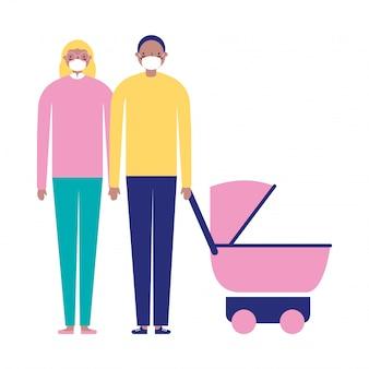 Madre padre y bebé con máscaras