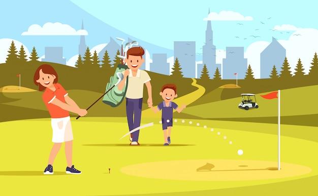 Madre padre e hijo en el campo de golf